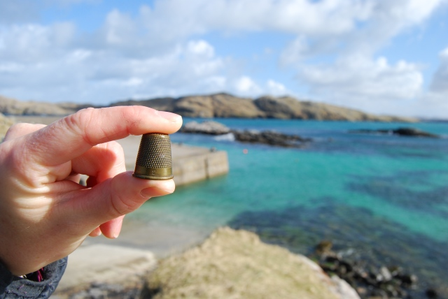 BFK004: Brass thimble gifted to a friend in 2006, currently residing in Uig, Isle of Lewis, Scotland (Digital Photograph: K. Murphy, 11/04/15).
