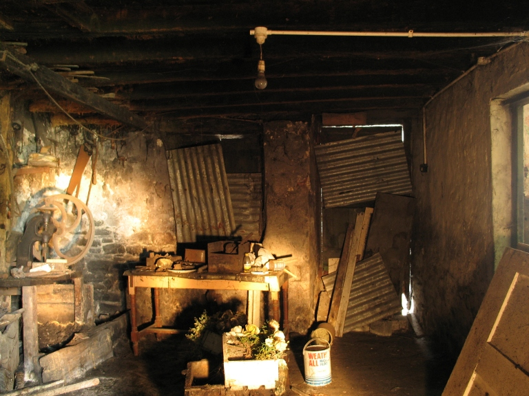 A light-painted photograph of south end of the forge interior (Digital Photograph: Brian Mac Domhnaill, June 2005).