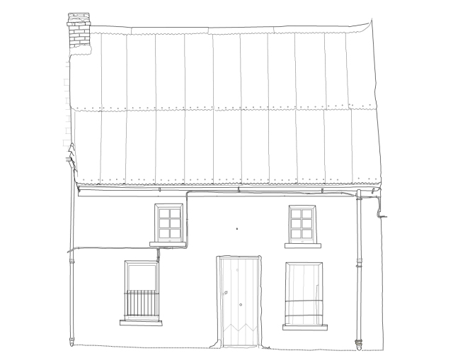 Front elevation drawing of The Forge (Survey: Brian Mac Domhnaill, Illustration: Jonathan Millar, 2005).