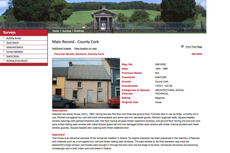 NIAH entry for The Forge on www.buildingsofireland.ie (Accessed April 2015, 9 years after demolition).